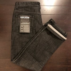 NWT Five Four Black Raw Denim Jeans Relaxed 32W